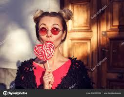 Funny Cheerful Blonde <b>Girl Rose</b> Glasses Licking <b>Lollipop</b> Copy ...