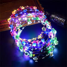 Colorful <b>Flashing LED Flower</b> Headband <b>Luminous Floral</b> Hair ...