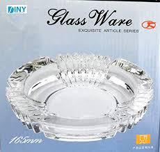 "<b>Large</b> Glass Ashtray 6.5"" <b>Round</b> Cut Fancy <b>New Vintage</b> Style ..."