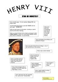 henry viii star or monster worksheet year study henry viii star or monster