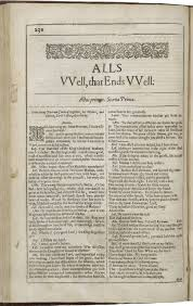 all s well that ends well shakespeare library opening page of the second folio edition of all s well that ends well