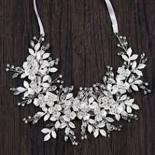 Luxury <b>Silver</b> Handmade Ribbon Rhinestone Crystal Leaves Floral ...