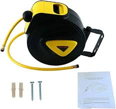 FreeTec Retractable <b>Auto</b> Rewind Air Hose Reel <b>Wall Mount</b> Tool ...
