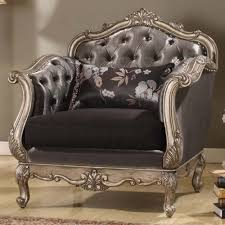 acme furniture acme furniture chantelle chair with pillow in antique platinum