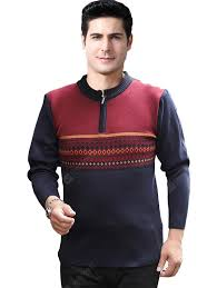 Middle-aged <b>Men's</b> Sweater <b>Geometric</b> Pattern Loose and Warm ...