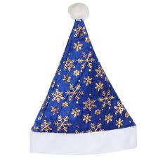 <b>Колпак новогодний</b> С узорами белый/синий (25х32 см ...
