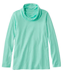Women's Pima Cotton Tee, <b>Long</b>-<b>Sleeve Cowlneck</b>