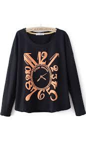 Loose version loop leisure <b>fashion</b> fleece black   Printed sweatshirts ...