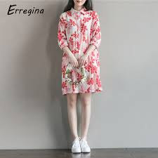 <b>Erregina</b> Plus Size Dresses Sweet <b>Women</b> Linen Turn Down Collar ...