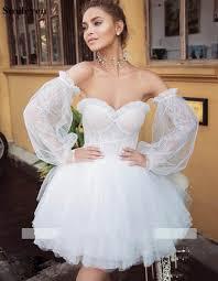 <b>Smileven</b> Puff Sleeve Detachable Short <b>Wedding</b> Dress 2019 ...