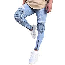 streetwear blue ripped jeans for