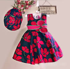 new summer baby girls floral pattern dress with cap european style vintage children dresses with bow baby girl dress designs