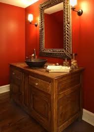 room paint red: eclectic powder room by becker architects limited
