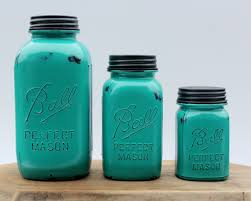 Green Kitchen Canister Set 3 Piece Teal Mason Jar Canister Set Kitchen Distressed Half