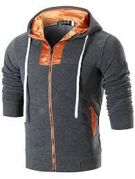 Autumn Winter Hooded Fashion Zipper Slim Stitching Color Men's ...