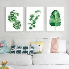 Tropical Banana <b>Leaf</b> Canvas Painting <b>Fresh</b> Palm <b>Leaves</b> ...