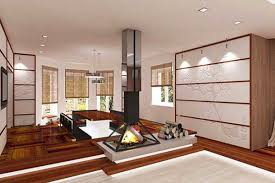 modern asian living room with beige sectional and red wall design by asian living room furniture