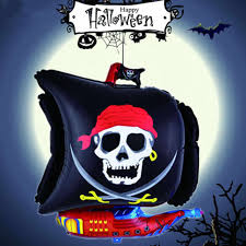 10pcs Skull <b>Balloons Halloween</b> New Cartoon Pirate Boat ...