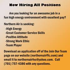 join our team northern air family fun center hiring flyer