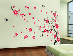 sun wall decal trendy designs: yyone plum blossom red flowers tree branch swallows art wall mural home decor wall sticker