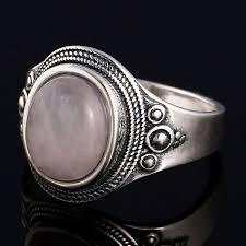 GUYINKU <b>Natural Rose Quartz</b> Rings 925 Sterling Silver Gemstone ...