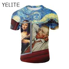 <b>YELITE</b> Newest Art Oil Painting 3d Printed <b>Men T shirt</b> Summmer ...
