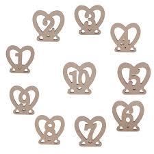 <b>10pcs</b> 1 10 Wodden Heart Shaped Rustic Wedding <b>Table Number</b> ...
