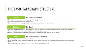 from paragraph to essay how they are alike and different ppt the basic paragraph structure the topic sentence first the topic sentence states what your paragraph is