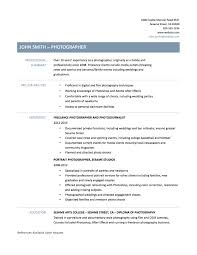 photographer resume photography resume template