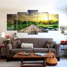 5pcs modern art printing lake landscape <b>poster canvas painting</b> ...