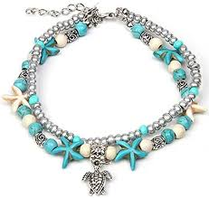 <b>Boho</b> Anklet Bracelet Blue Starfish Ankle Multilayer Beach Foot ...