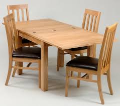 room simple dining sets: wooden expandable dining table set with leather seat for dining room furniture ideas
