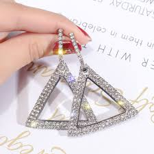 <b>S925</b> Silver Needle Hoop Earrings For Women Geometric Triangle ...