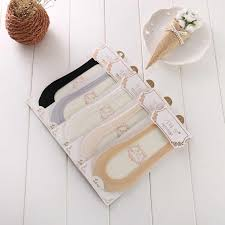 <b>Summer women</b> girl <b>Silica</b> Gel Lace Boat Socks Invisible Cotton ...
