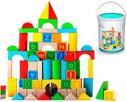 Alphabet Wooden Building Blocks Set with Case ... - Amazon.com