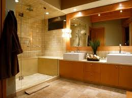 contemporary bath with dual vessel sinks bathroom lighting placement