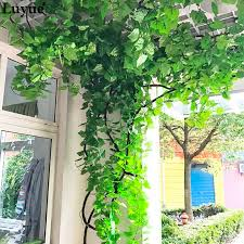 <b>12pieces</b> 230CM 7.5 ft Long Artificial <b>Plants</b> Green Ivy <b>Leaves</b> ...