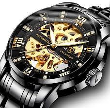 Men's Watch Black <b>Mechanical</b> Stainless Steel Skeleton <b>Waterproof</b> ...