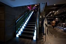 led illuminated stair with lit risers and treads diesel ny flagship lighting design lighting design images