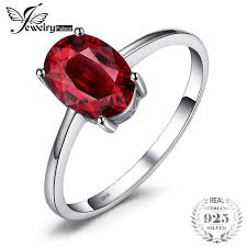 <b>JewelryPalace</b> Natural <b>Red Garnet</b> Solitaire Ring <b>Genuine</b> 925 ...