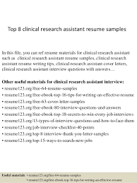 top 8 clinical research assistant resume samples in this file you can ref resume materials research resume template