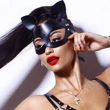 <b>Sexy Leather Cat Mask</b> BDSM Bondage Restraints Head Black Eye ...