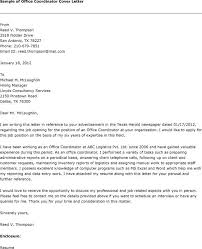 office coordinator cover letters  template coordinator cover letter