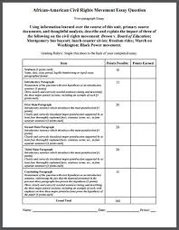 high schools rubrics and civil rights movement on pinterest african american civil rights movement five paragraph essay exam with grading rubric   for