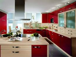 modular kitchen colors: modular kitchen design with red cabinet and ceiling lamps