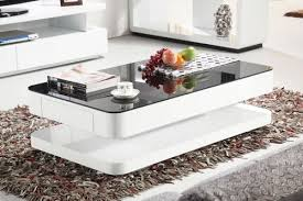 Courbe 1m <b>High</b> Gloss <b>Coffee Table</b> With Black Glass & Drawers ...