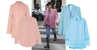 Этой осенью носите <b>рубашки</b> в цвет блейзера, как Белла Хадид ...