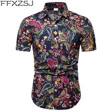 <b>FFXZSJ Brand 2019</b> summer Men's short sleeve Linen shirt printing ...