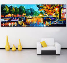 palette knife painting amsterdam early morning scene picture printed on canvas for home office wall home office early