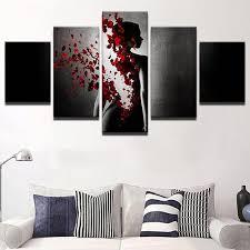 5 Panel Roses <b>Woman Lady Petal</b> Rains Canvas – Urban Street ...